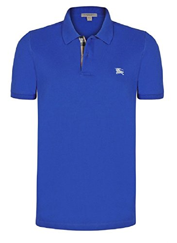 BURBERRY BRIT POLO UOMO MANICA CORTA LIGHT STEEL BLUE TAGLIA L