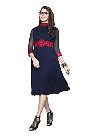 Fabdeal Women Georgette Embroidered Stitched Kurti