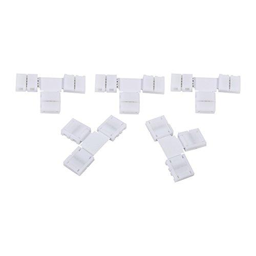 Delaman 5Pcs Solderless 4 Pin Clip on Stecker Adapter für 10mm RGB 5050 LED Streifen Licht (Size : T-Form) -