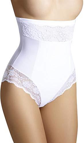Bauchweg Unterwäsche Damen Miederslip mit Bauch-Weg-Effekt Shapewear Stark Formend Miederhose Slip Hochzeitsdessous (M, Weiß)