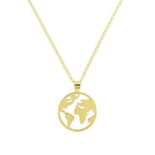 AQUA Collar de Plata Chapada en Oro 18K Bola del Mundo AQ4001-2