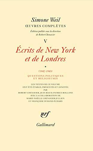 OEuvres complètes (Tome 5 Volume 1)-Écrits de New York et de Londres (1942-1943)) (Hors série Connaissance)