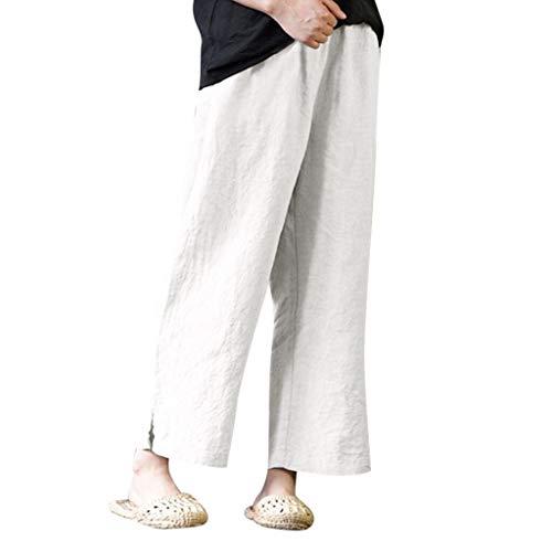 Avenue Spandex-leggings (VJGOAL Damen Hose mit Weitem Bein, Frauen Elegant Retro Große Größen Freizeit Lose Baumwolle und Leinen Strandhosen)