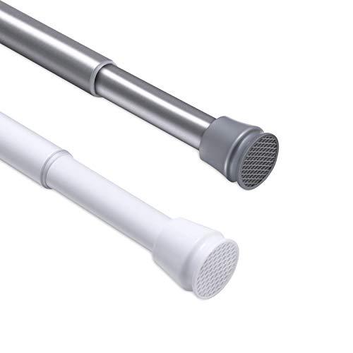 CLOFY Duschvorhangstange | sicherer Halt ohne Bohren | 304 Teleskopstange aus Edelstahl, Länge einstellbar(110 bis 200cm) | Tragfähigkeit 8 kg, Nickel