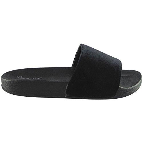 Nuovo Donna Velluto Piatto Scarpe in gomma Formato 3-8 Nero