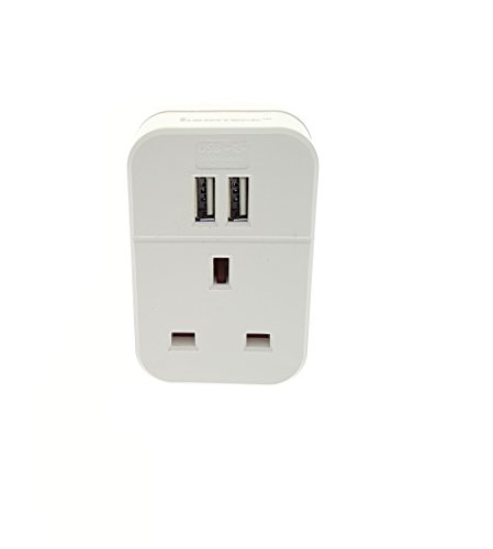Innoteck DS-2358 1-Way Power Wall Adapter with 2 USB Smart Intelligent Charging Ports - White