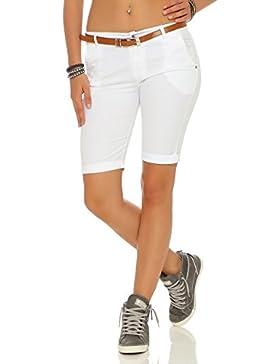 ZARRMEXX Fashion Zarmexx Mujeres Bermuda Pantalones Cortos con la Correa Pantalones de Algodón Chino-Pantalones...