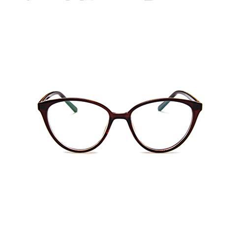 REALIKE Unisex Brille Elegant Flacher Spiegel Runder Rahmen Brillengestell Brille Anti-Blaulichtbrille, Leopardenmuster-Brillengestell Aus, (Farbe : Mehrfache)