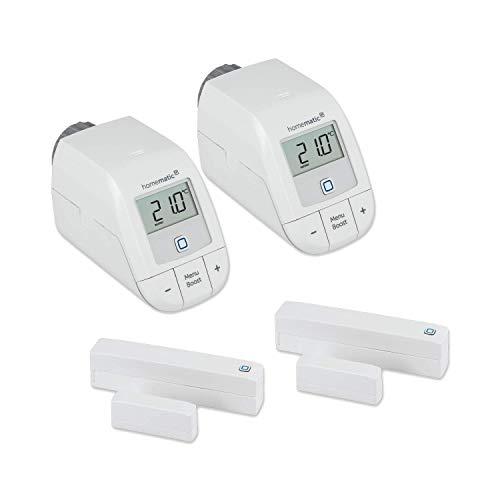 Homematic IP Set Heizen Easy Connect für 2 Räume | 2 x elektronisches Heizkörperthermostat, 2 x Fensterkontakt. Programmierbare Funk Heizungssteuerung. Stand-Alone-Betrieb - Zum Smart Home erweiterbar