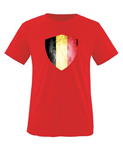 Comedy Shirts - Belgien Trikot - Wappen: Groß - Wunsch - Kinder T-Shirt - Rot/Gelb Gr. 152-164