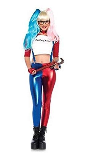 (Kids Metallic Harley Quinn Suicide Squad Costume Shorts Pant Legging Fancy Dress)