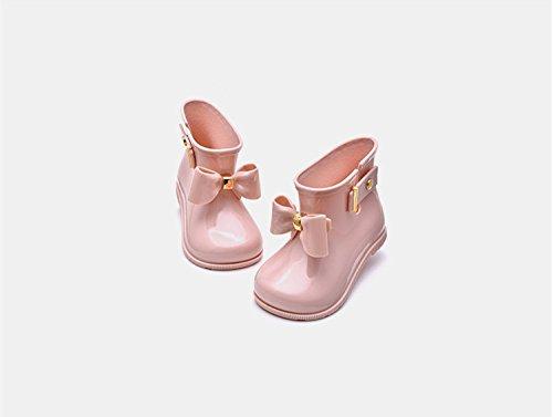 Baiyouli Gummi wasserdichte breite Zehen Regen Stiefel mit BOW-TIE für Kleinkind Little Big Kids Größe 19 bis 31 & Alter 0,5 bis 6