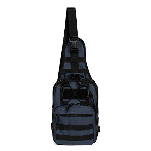 M_CC_USK Mode Lässig Leinwand Brusttasche, Crossbody Sling Schulter Rucksack, Casual Sport Wandern Reisetasche Hüfttasche (blau) -