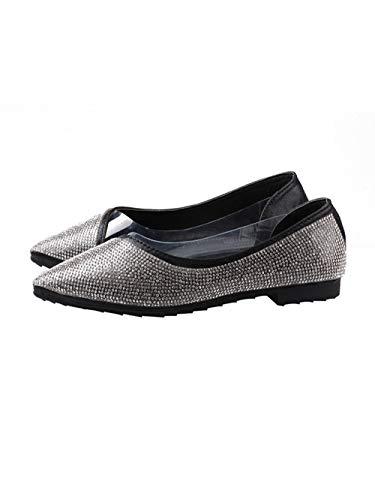 Sandalias de Mujer Rhinestone puntiagudo Boca Baja Zapatos planos Guisantes Zapatos de Fondo Suave 37_Negro
