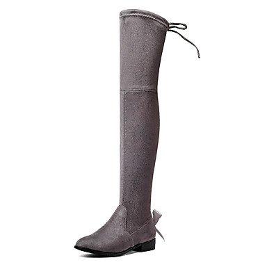 Wuyulunbi@ Scarpe Donna Autunno Inverno Moda Stivali Stivali Blocco Tacco Punta Rotonda Stivali Ginocchio Bow Tie Party In Pizzo Noi10.5 / EU42 / UK8.5 / CN43
