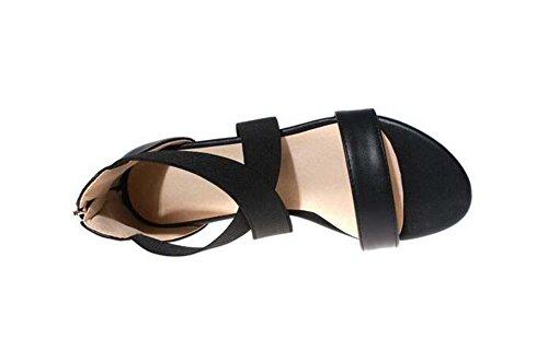 Beauqueen Sandales Femmes Pompes D'été Peinture Flat Zipper Imitation Cuir Femmes Loisirs Chaussures Spécial Taille Europe 33-42 Black