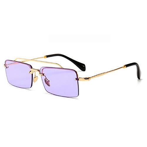 CCTYJ Sonnenbrillen Kleine Sonnenbrille randlos Männer Sommer Frauen Metall Halbrahmen Retro Sonnenbrille rechteckig-klar lila