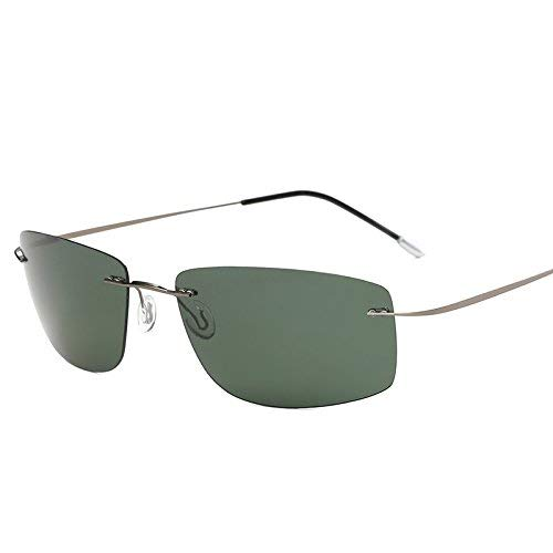 Lindou con astuccio polarized titanium silhouette occhiali da sole polaroid gafas men square occhiali da sole per uomo donna (colore : zp5447 with case c3)