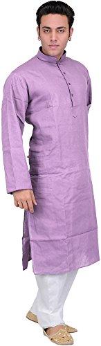 Exotic India Solid Plain Kurta Pyjama Set - Color Smoky GrapeGarment Size...