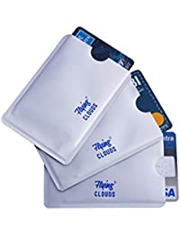 flying CLOUDS Silver Aluminium RFID Blocking Credit Card Holder Wallet - 3 Pieces