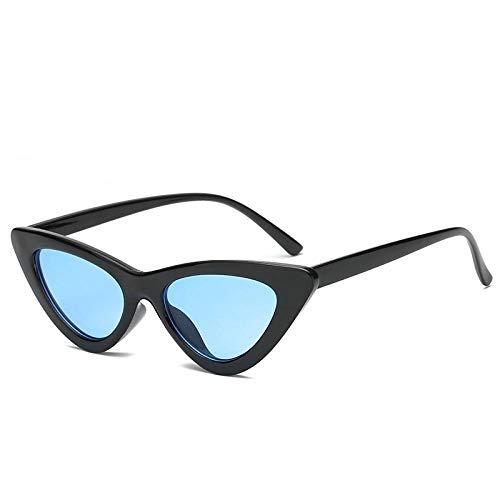 HSHUO Damen Sonnenbrillen Katzenauge Sonnenbrillen wilden kleinen Rahmen Sonnenbrillen@Schwarzer Rahmen blau