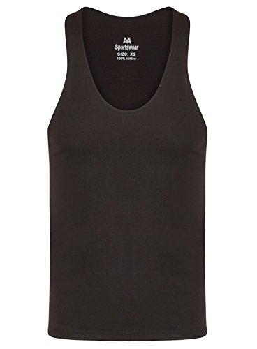Herren Einfarbiges bodybuilding-Tanktop, für Fitness / Muskeltraining  Racerback-Rückseite schwarz - schwarz ...