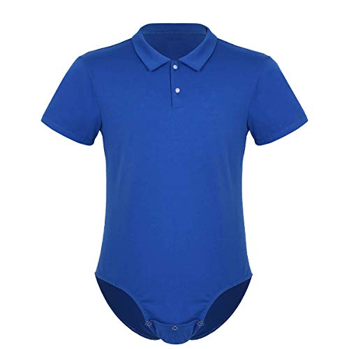 dPois Herren Hemdbody Shirt mit Umlegekragen Baumwolle Slim Fit Unterhemd Erwachsene Strampler Kostüm Sport Fitness Blau Large (Body Suit Herren)