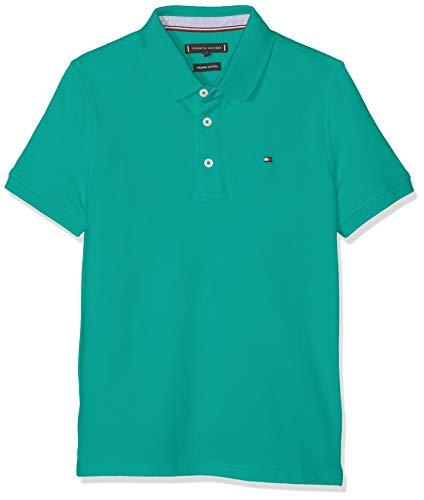 Tommy Hilfiger Jungen Essential Tommy REG Polo S/S Poloshirt, Grün (Dynasty Green 303), 140 (Herstellergröße: 10)