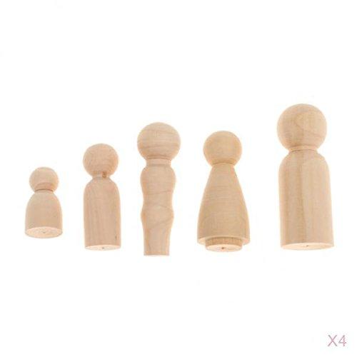 Homyl 20pcs Wooden Peg Doll Little People Standard Family Peg Child Doll DIY Craft