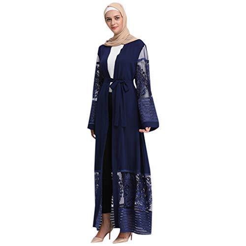 Lazzboy Damen Openwork Stickerei Langes Kleid Robe Offene Abaya Strickjacke Muslim Dubai Gown Muslimische Kleidung Kleider Arab Arabisch Indien Türkisch Casual Abendkleid Hochzeit Kaftan(Blau,L)