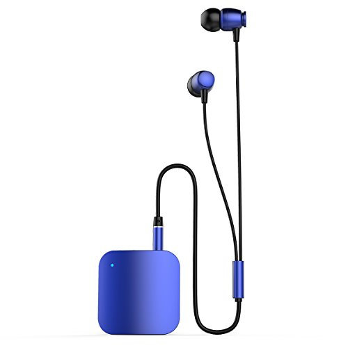 Yigenet Bluetooth V4.1 Kopfhörer Musik Receiver Stereo-Ohrhörer 3,5 mm Klinke In-Ear Audio Earbuds Clip-on Kragen Freisprecheinrichtung Headsets Lange Standby Zeit - Blau (Surround-sound-system-clips)