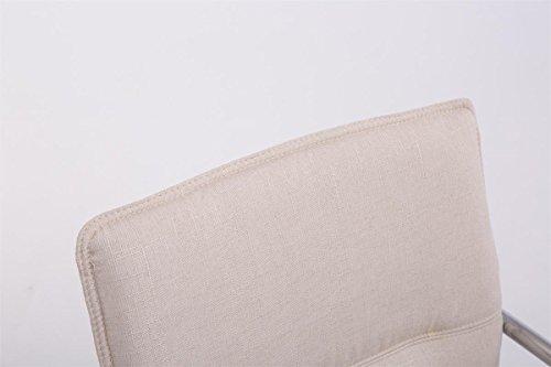 CLP Freischwinger-Stuhl mit Armlehne SEATTLE Stoff, Besucherstuhl, Konferenzstuhl gepolstert, Metall Creme - 4