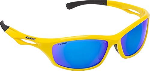 Cressi Unisex- Erwachsene Sniper Sunglasses Sport Sonnenbrillen, Gelb/Linsen Verspiegelte Blau, One Size