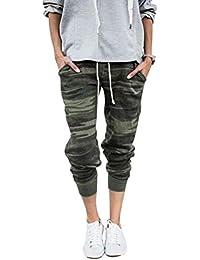 Pantalon Femme Militaire Camouflage Sport Pantalon de Jogging en Maille  avec Cordon de Serrage 3743b8dd32d