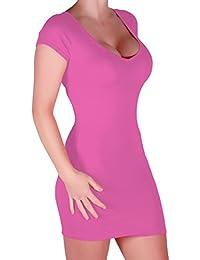 Eyecatch - Annalise Frauen V-Ausschnitt, Flugelarmeln, figurbetontes Stretch Kurz Damen Minikleid