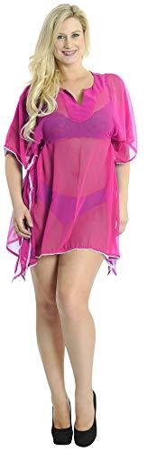 LA LEELA Schiere chiiffon weißer Spitze Bademoden festen Strand vertuschen hell pink -