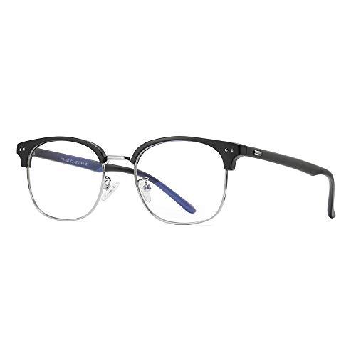Computerbrille Blaulichtfilter - Ohne Stärke - Anti-Müdigkeit UV-Schutz - TR90 Metallgestell Brillenfassung - Brillenetuis Hardcase