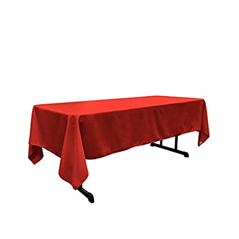 La nappe rectangulaire en lin popeline Polyester, Polyester, Red, 152.4 x 305 x 0.04 cm