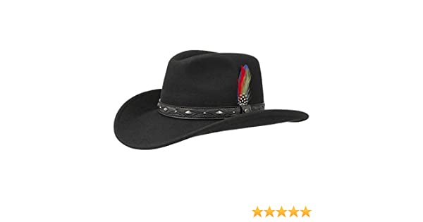 ad423ba624152 Stetson Ondello Wool Felt Western Hat Men | Rodeo with Leather Trim  Summer-Winter: Amazon.co.uk: Clothing