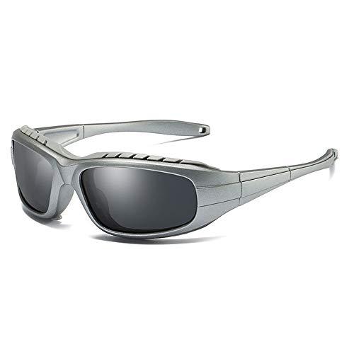 Sonnenbrillen Mode Herren Outdoor polarisierte Sonnenbrille UV-Schutz Radfahren Brille, um Sich vor dem Blasen Sand Objektiv Sport Sonnenbrille zu schützen (Farbe : Schwarz)