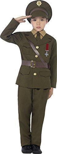 Jungen WW2 Armee-offizier Kostüm Kinder Kostüm Outfit Größe Mittlere Und Große - Grün, 10 to 12 ()