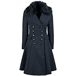 Hell Bunny Milan Coat Abrigo Mujer Azul Marino 3XL
