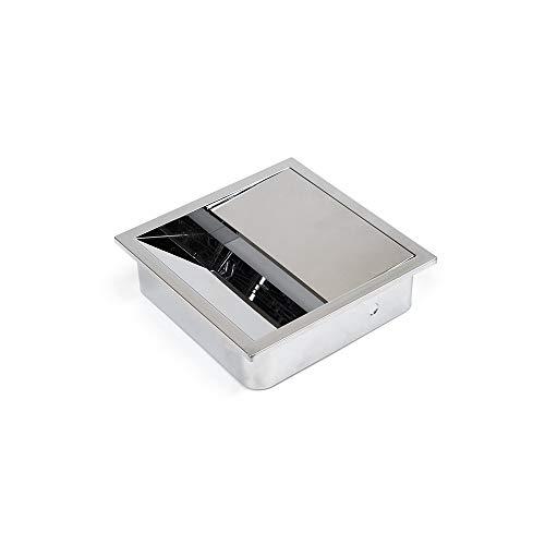 Emuca 5047011 - Coperchio passacavi quadrato, 85 x 85 mm, da incasso su tavolo da scrivania, organizer per cavi per mobili, in plastica cromata, 5047011