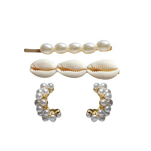 ziYOU Vintage elegante Muschel Perle Ohrringe Clip Damen Haarspange Schmuck Kombination(Größe als Erscheinen, Gold) (Volleyball Mom Schmuck)