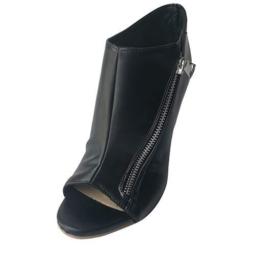 Dragon868 Sandali Donna Vintage Scarpe con Tacco Alto 11.5cm con Cerniera Sandali Tacco a Spillo Peep Toe Ladies Shoes Partito Estivi 2019 Nero