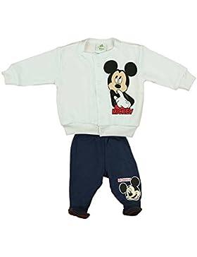 Mickey Mouse Jungen Baby-Set bestehend aus Wagen-Jacke und Hose mit Füßchen weiss und blau in GRÖSSE 56, 62, 68...