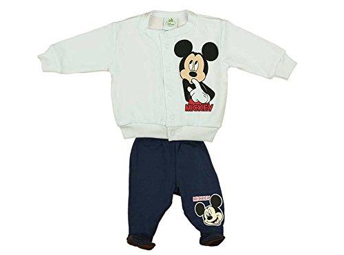 Mickey Mouse Jungen Baby-Set bestehend aus Wagen-Jacke und Hose mit Füßchen weiss und blau in GRÖSSE 56, 62, 68, 74, Baby-Jacke ohne Kapuze, Baby-Jäckchen mit Druck-Knöpfen Size (Für Maus Minnie Outfit Kleinkinder)
