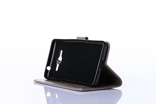 Sunroyal® Portable Accessories pour Samsung Galaxy Grand Prime SM-G530FZ / SM-G531F Premium PU Cuir Etui Housse Coque AntiChoc Pochette Flip Rabat Case Cover Ultra Mince Bumper Cas Sac Motif Pattern R Pattern 05