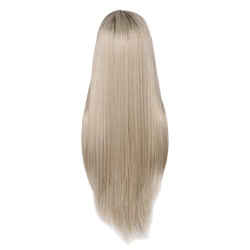 80 ' S Perücke (Mypace Blond Lang Glatt Für Männer Damen Spitze vorne Wigs Blonde Wig Synthetic Wigs Natürliches langes, langes Straight Haar für Frauen)