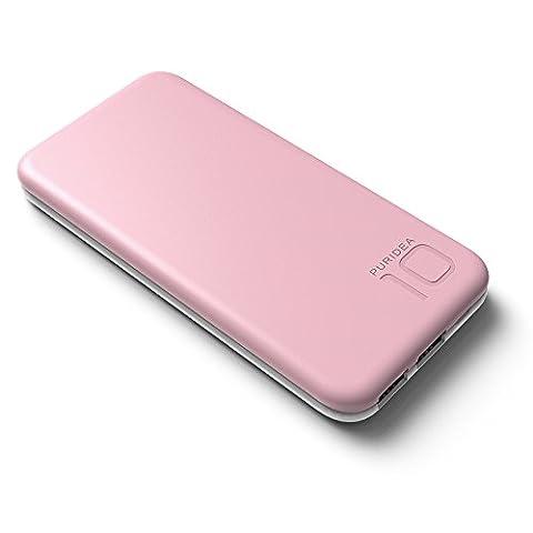 10000mAh USB Chargeur Portable, PURIDEA S2 Batterie Externe 2 Ports de Secours pour iPhone, iPad pour iPhone, iPad, Samsung Galaxy,Nexus, HTC et autres smartphones, tablettes etc (rose)